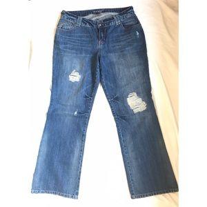 Lane Bryant Distressed Bootcut Blue Jeans